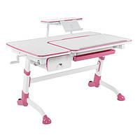 Детский стол с выдвижным ящиком и полкой для книг, розовый, фото 1