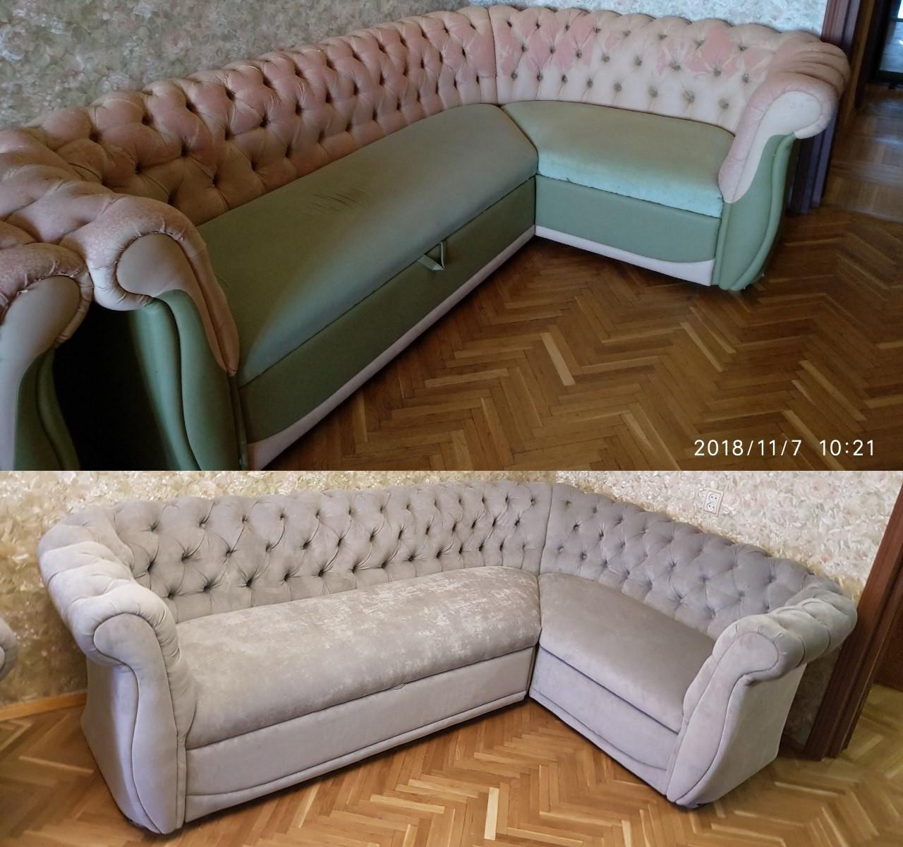 Перетяжка мягкого углового дивана с каретной стяжкой