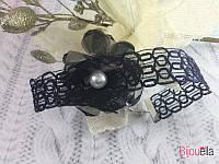 Винтажный чокер 18786 черный тканевый с жемчугом колье на застежке