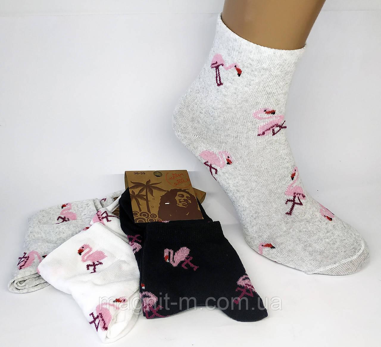 Носки женские. Розовые фламинго. Ассорти.