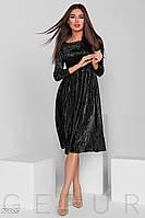 Черное бархатное платье-гофре
