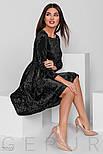Черное бархатное платье-гофре, фото 2