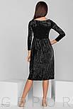 Черное бархатное платье-гофре, фото 3