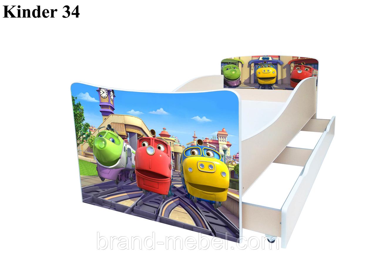 Ліжко дитяче Kinder Веселі паровозики / Кровать детская Kinder Весёлые паровозики