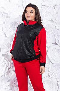Женский спортивный костюм из двунити со вставками эко-кожи 50-52, 54-56, 58-60, 62-64, 66-68, 70-72