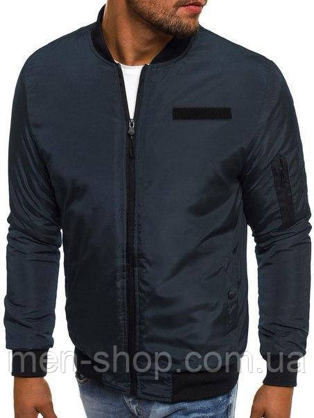 Мужская куртка осень  бомбер синий