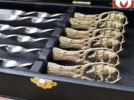 """Набір шампурів ручної роботи """"Дикий кабан"""", в подарунковому кейсі"""