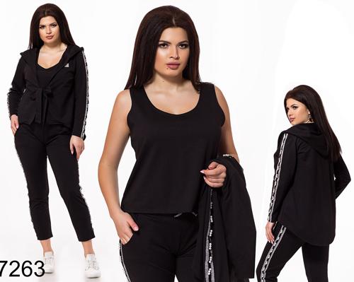 a6b2db8cc63b Модный спортивный костюм тройка для полных (черный) 827263, цена 1 ...