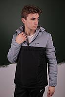 Комплект Анорак Nike утепленный + спортивные штаны, мужской черный + светло-серый осенний/весенний, фото 1
