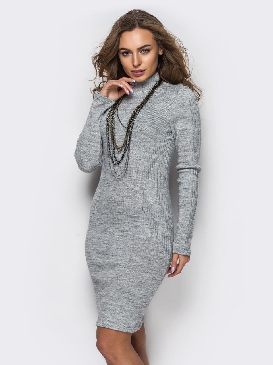 b4d271df6ca ◼Вязанное платье с воротником-стойкой (серое