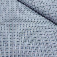 Ткань с мелкими синими ромашками в клеточках на сером фоне, ширина 145 см, фото 1