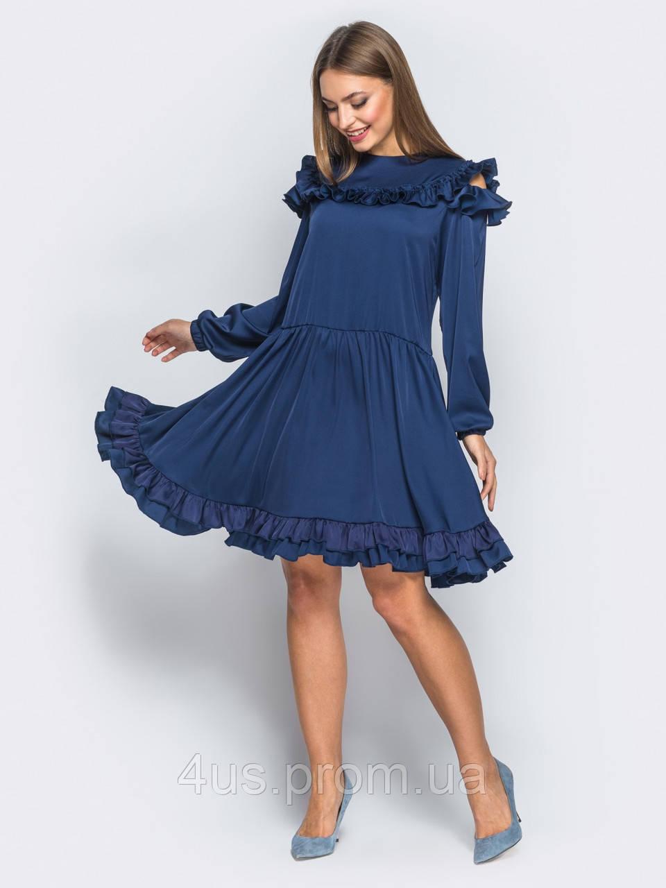 eadb6a228a04a2b ✉️Платье из шелка с пышной юбкой и рюшами (синее, отрезное по талии)