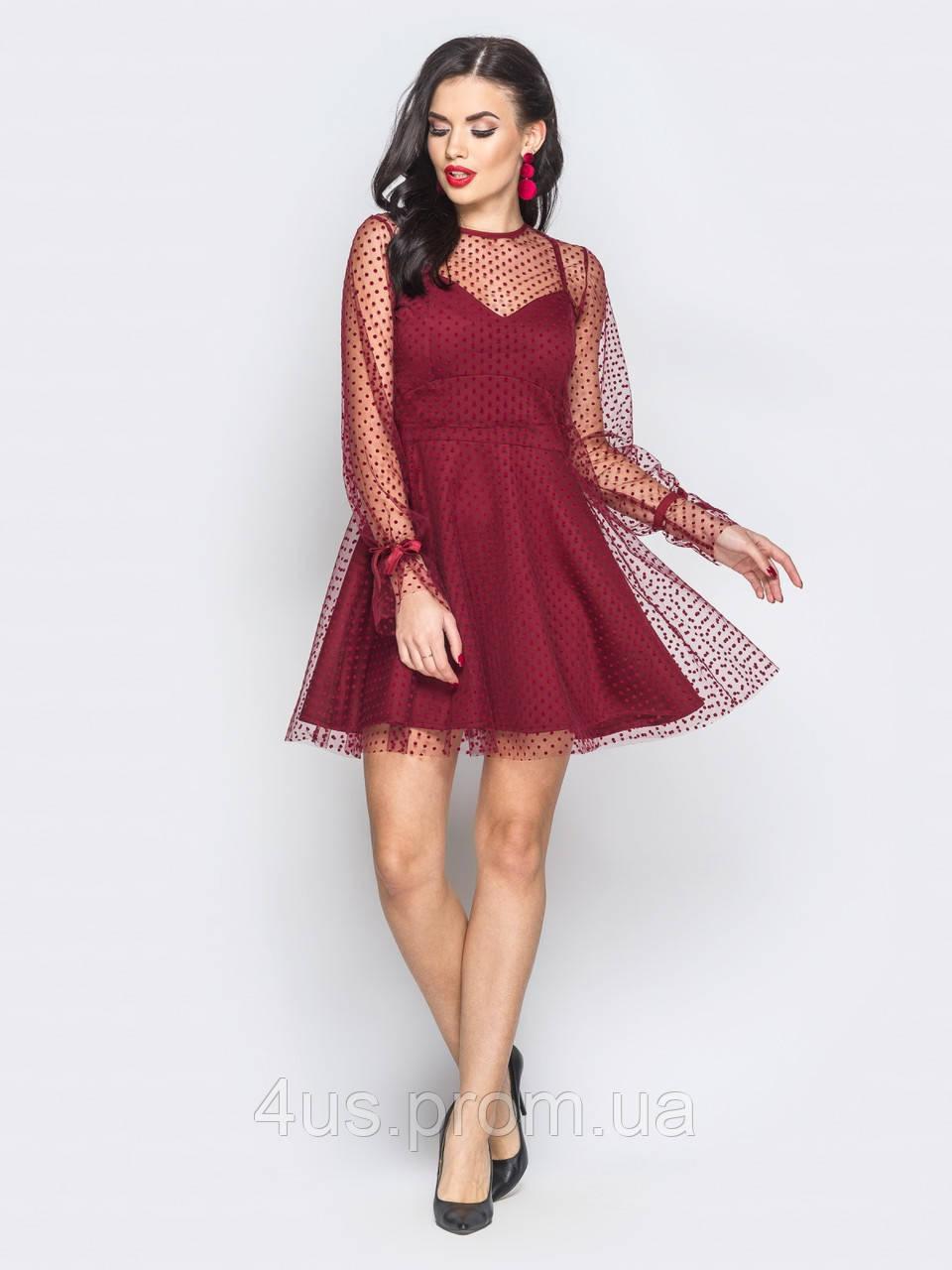 17c4d25a505 ✉️Коктельное платье-мини с пышной юбкой (бордовое