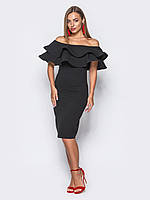 611b11561f0 ✉️Элегантное черное платье с двойной оборкой (коктельное