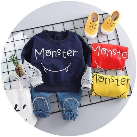 Стильный костюм двойка на мальчика 1-4 года  синий Монстр