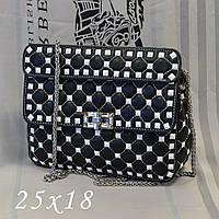 Женская сумка-клатч копия Валентино Valentino качественная эко-кожа дорогой Китай черная с белым