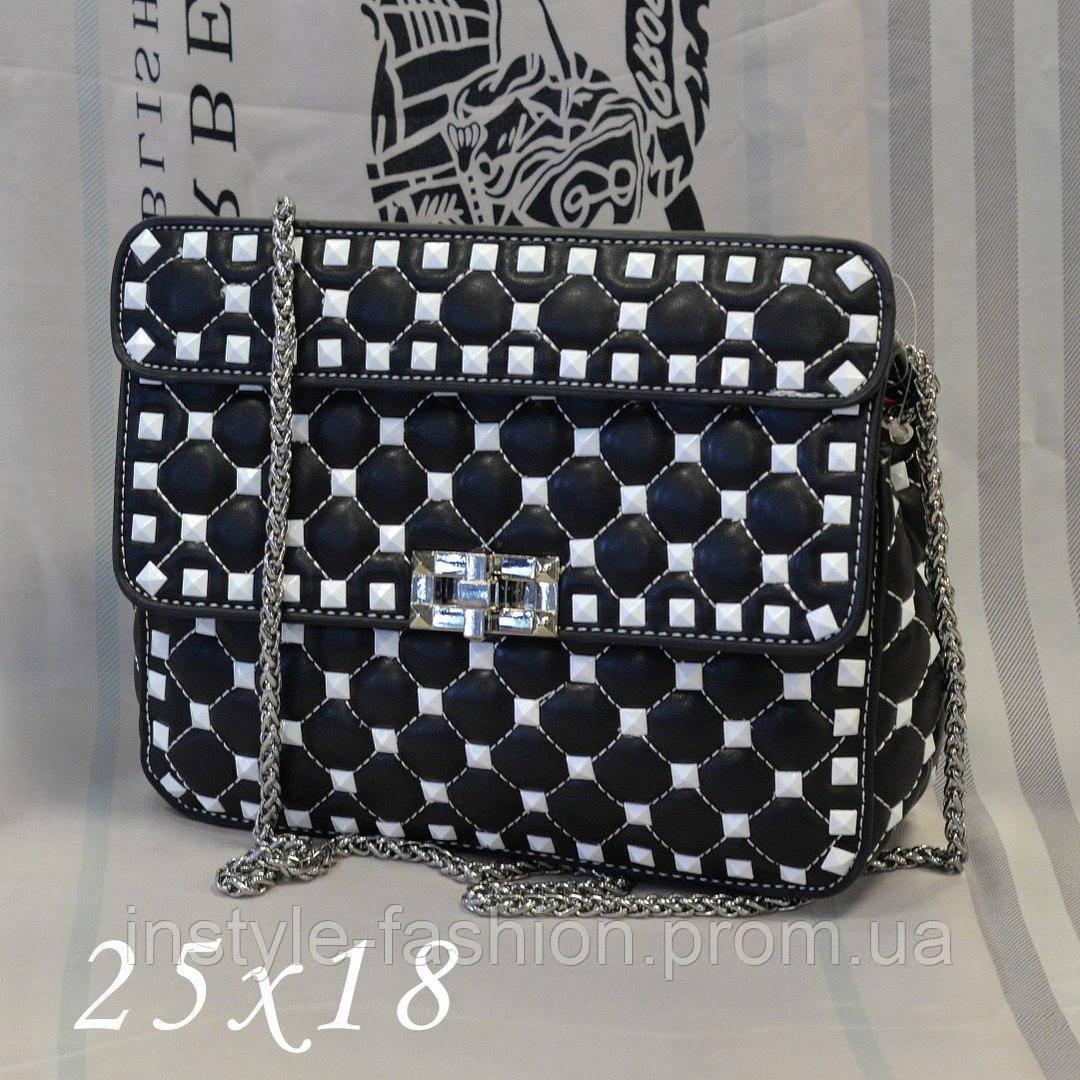 bd944b1ef83e Женская сумка-клатч копия Валентино Valentino качественная эко-кожа дорогой  Китай черная с белым