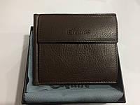 Esquire. Брендовая мужская коричневый кожаный портативный кошелек портмоне- клатч.