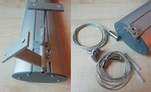На фото изображены крепление для накладного монтажа и тросы для подвесного монтажа линейного светодиодного светильника LedLife AL 600 27W