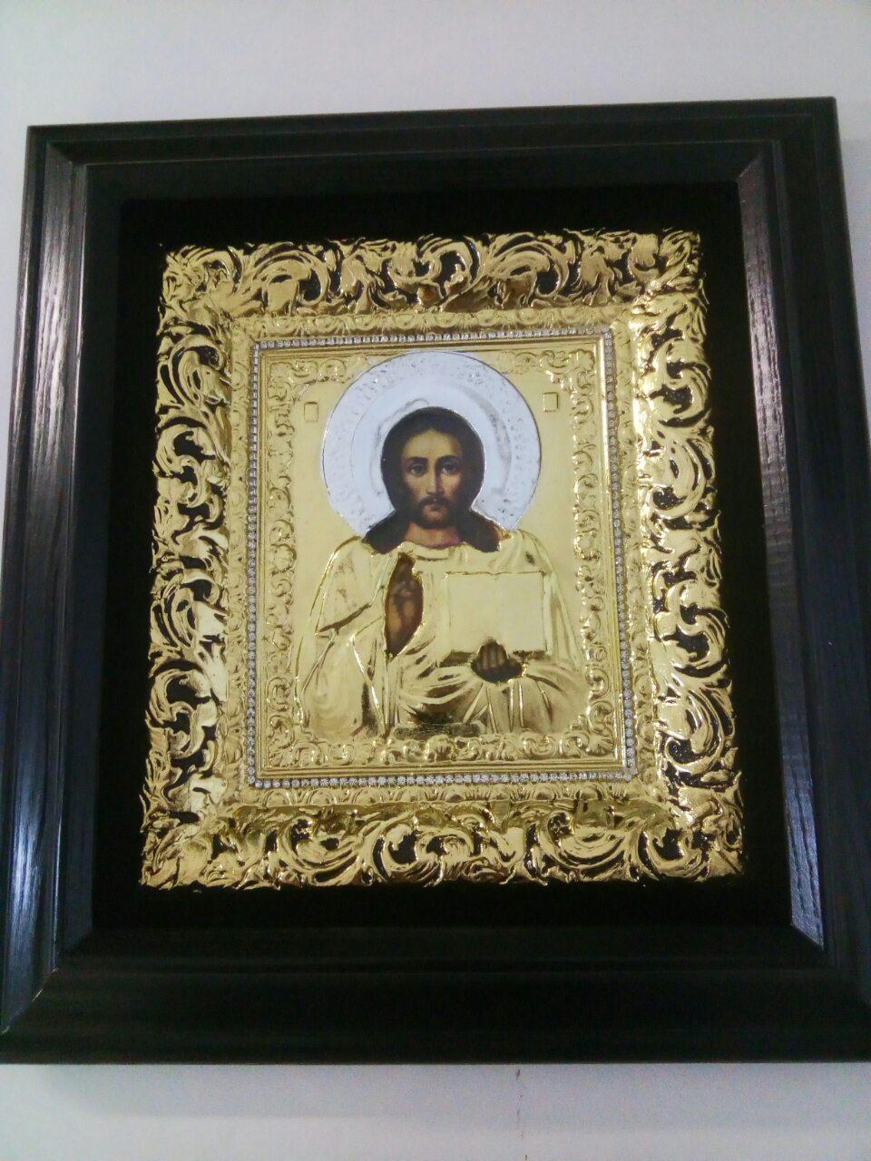 Икона Христа Спасителя 34х37см с золочением