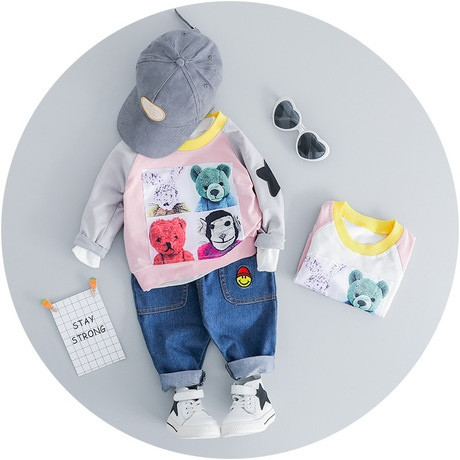 Стильный костюм двойка на мальчика 1-4 года  Мишки розово-серый