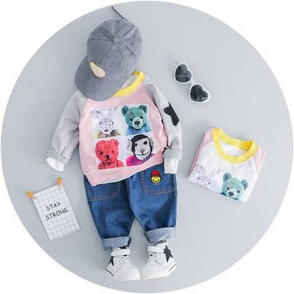 Стильный костюм двойка на мальчика 1-4 года  Мишки розово-серый, фото 2