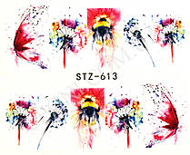 Наклейки для дизайна ногтей бабочка, одуванчик STZ-613