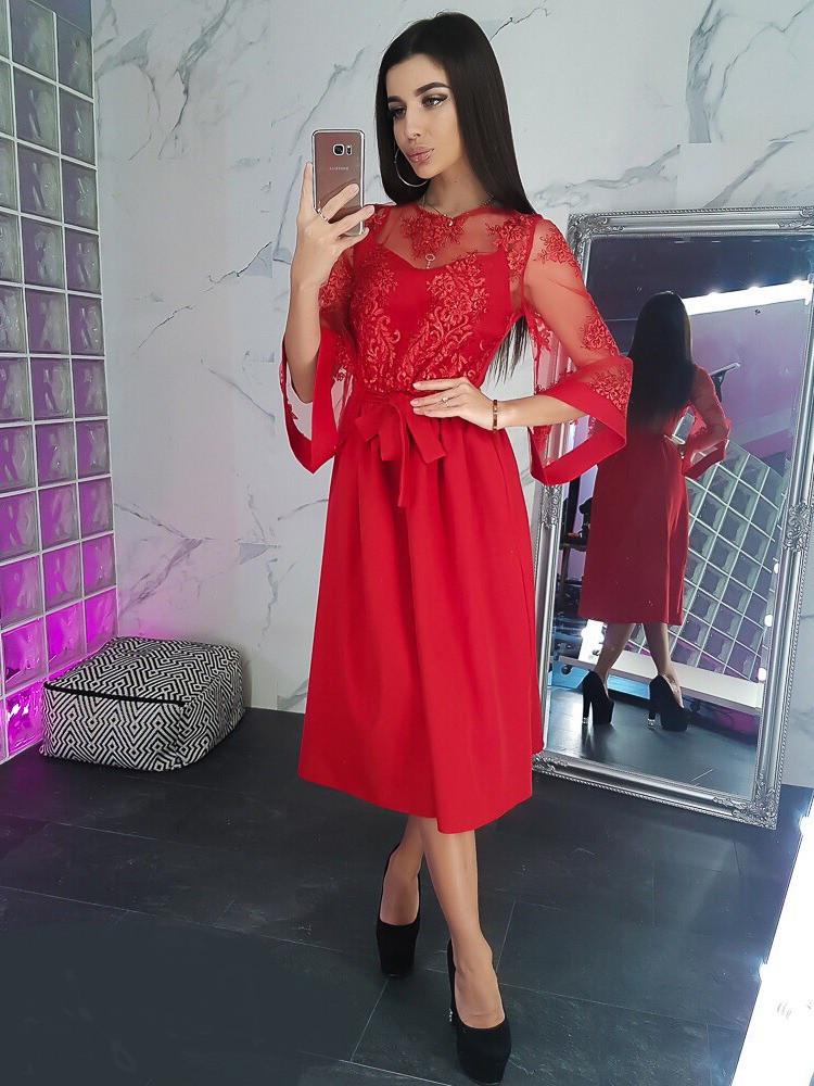 ed0cad88076 Красное платье миди c расклешенными рукавами кружевной верх VL5025 S.  Размер 42. - Чулочно