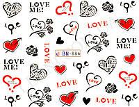 Наклейки для маникюрного дизайна Сердца BN-886