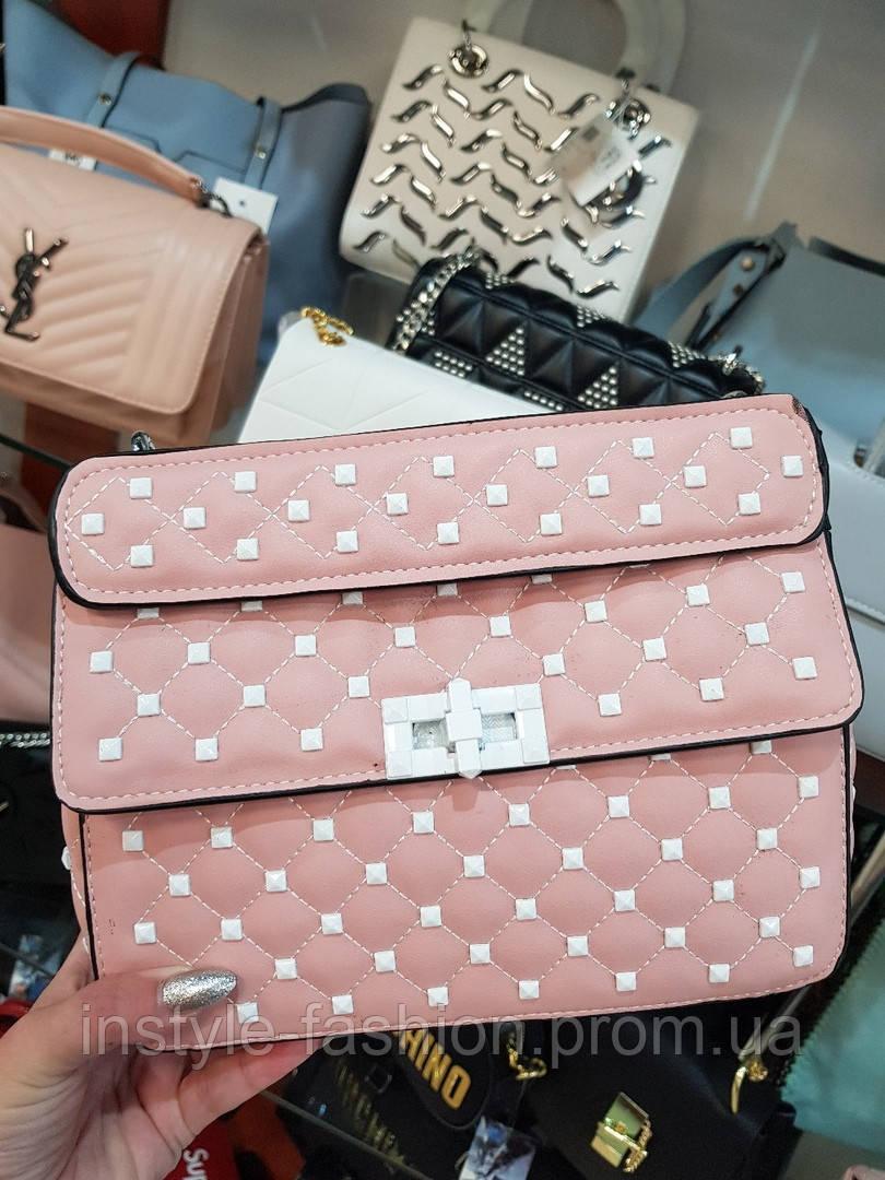 Женская сумка-клатч копия Валентино Valentino качественная эко-кожа цвет розовый с белым