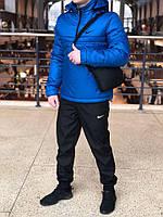 Комплект Анорак Nike утепленный на синтепоне + спортивные штаны, мужской синий осенний/весенний, фото 1