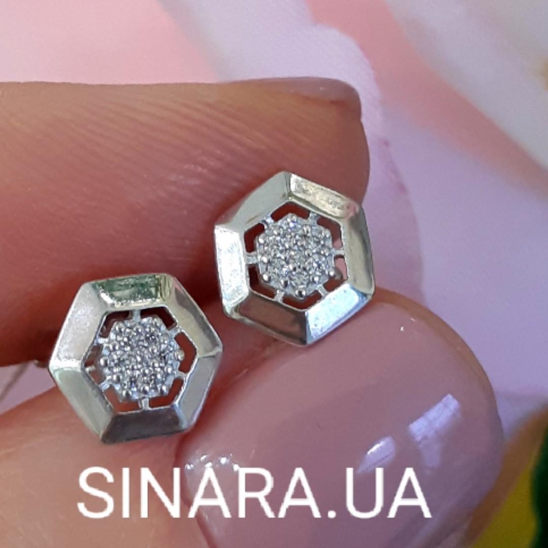 Серебряные родированные пусеты - Серьги гвоздики серебро