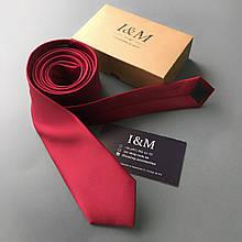 Галстук I&M Craft узкий бордовый (020304)