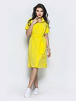 5834285095599c3 🔘️Желтое платье-рубашка с поясом / Размер 44-46,48-50