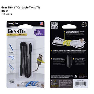 "Хомут Gear Tie Cordable Twist Tie 6"", Black"
