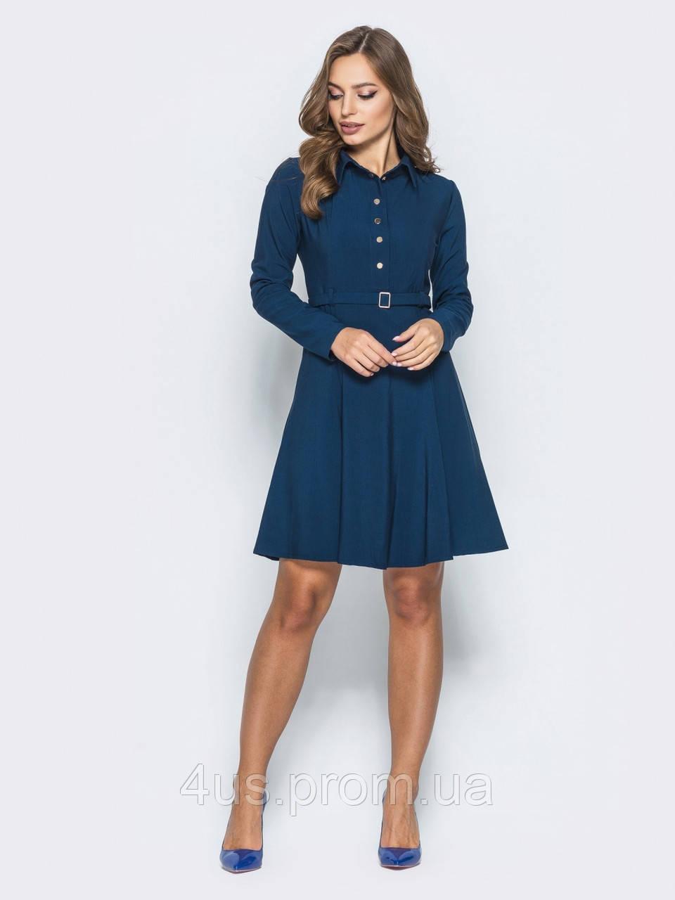 b18b0c44e54 ✉️Офисное платье с имитацией рубашки синее (с поясом