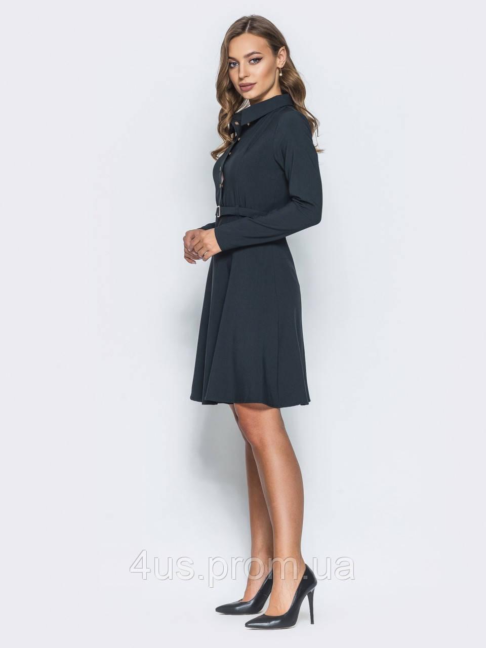 bd10846804d ... ✉️Офисное платье с имитацией рубашки черное (с поясом