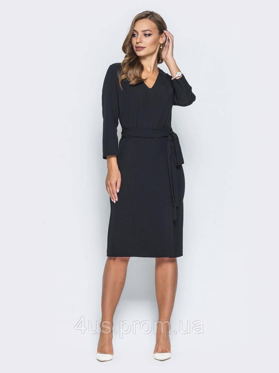 511361ee43e430f ✉️Трикотажное платье полуприлегающего силуэта с тканевым поясом (черное,  миди) / 44,