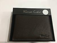 Thomas Calvi. Брендовая мужская коричневый кожаный портативный кошелек портмоне- клатч.
