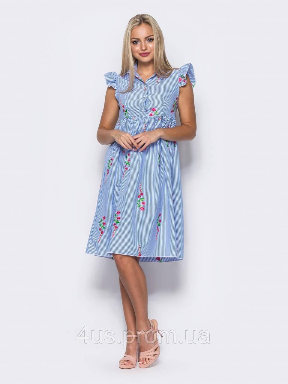bf90833ec5d ✉️Милое платье-рубашка с вышивкой (голубое