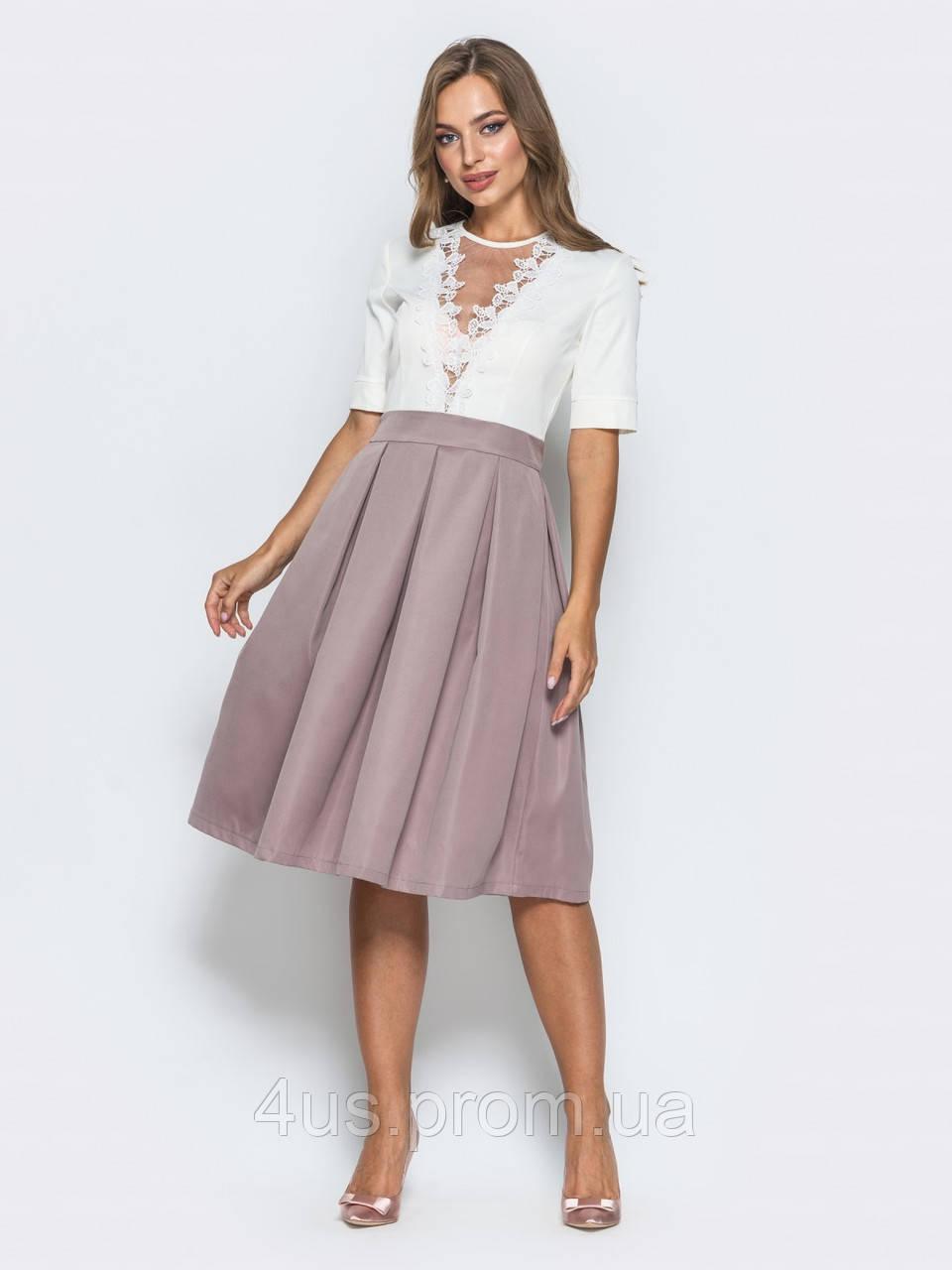 6dbe815a263 ✉️Нежное офисное платье с бантовой складкой на юбке (бежевое ...