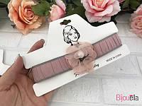 Стильный светло-розовый чокер 18392 тканьевое колье на шею украшение
