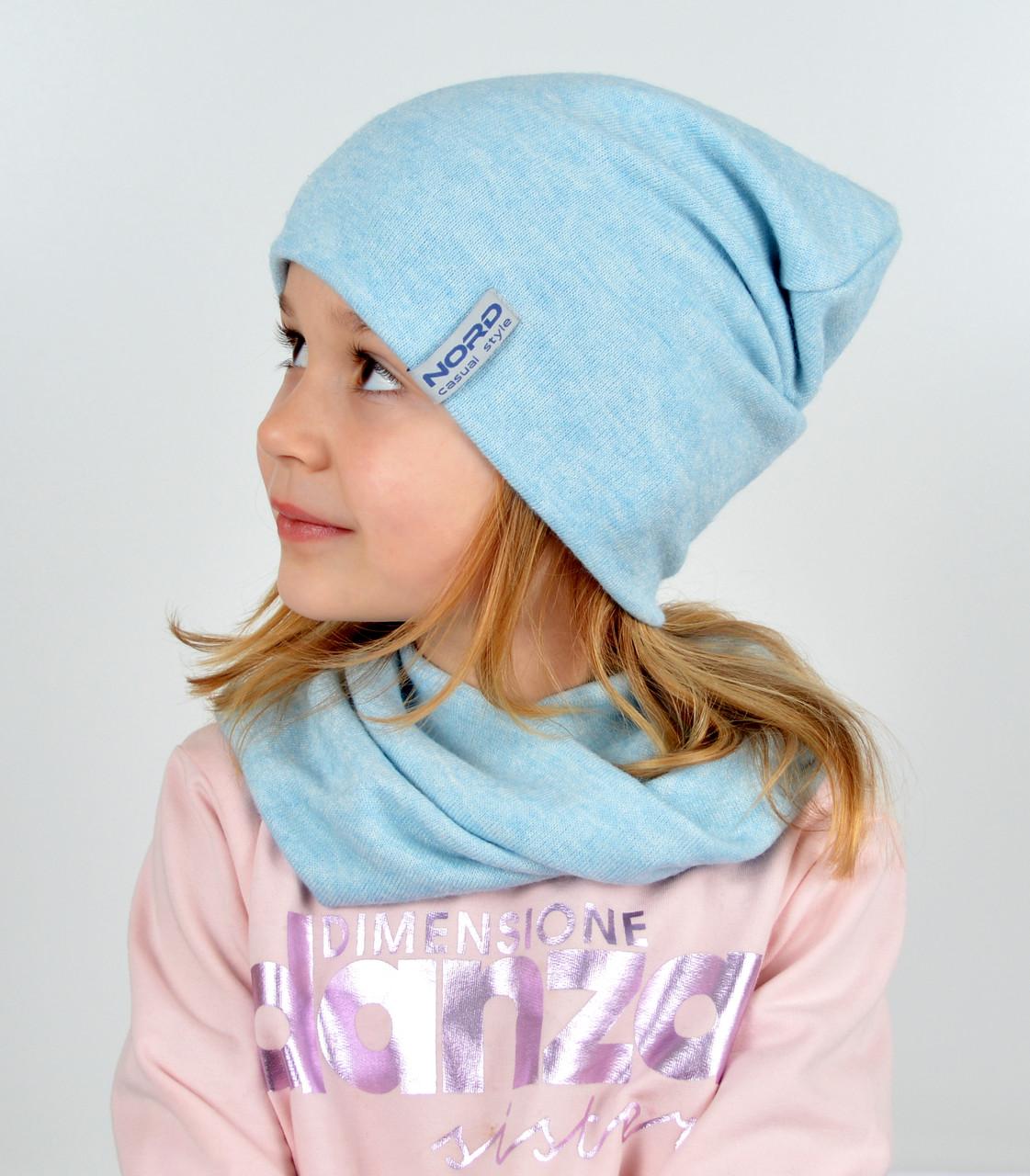 Комплект ангора х/б (шапка+хомут) голубой
