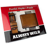 Подарочный набор Always Wild PSB-N7-01-GG (портмоне + ремень)