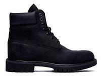 """Зимние ботинки на меху Timberland 6 inch """"Black Boots"""" - """"Черные"""" (Копия ААА+)"""