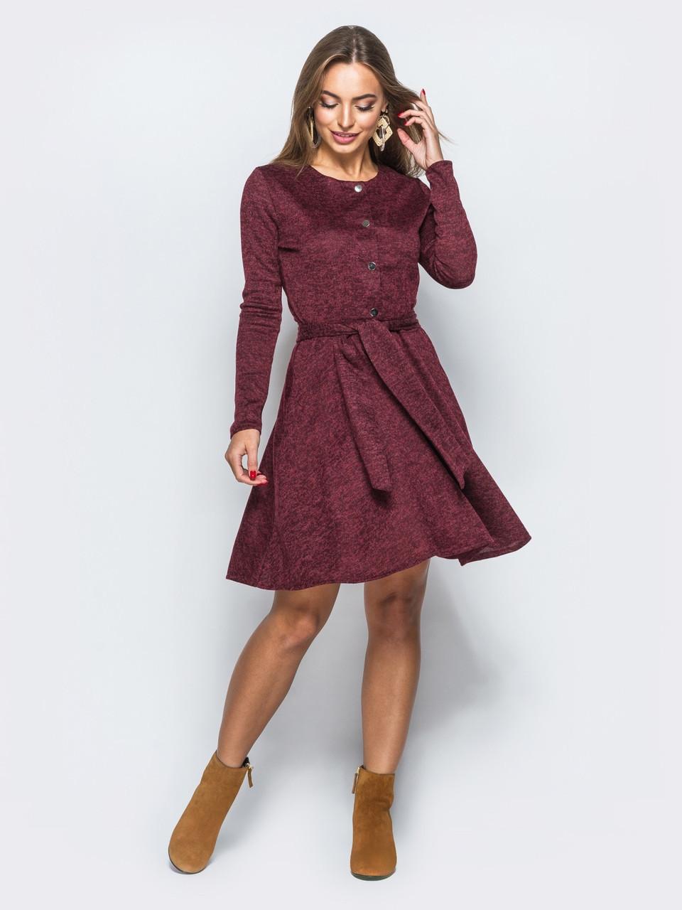 0a6c149f0c0 📍Бордовое трикотажное платье с юбкой-полусолнце   Размер 44