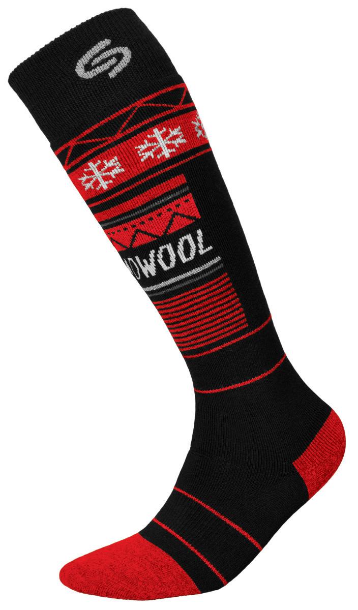 Термоноски InMove Ski Deodorant Thermowool 44-46 Черные с красным
