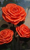Троянди червоні на стійці. Великі ростові квіти з ізолону., фото 1
