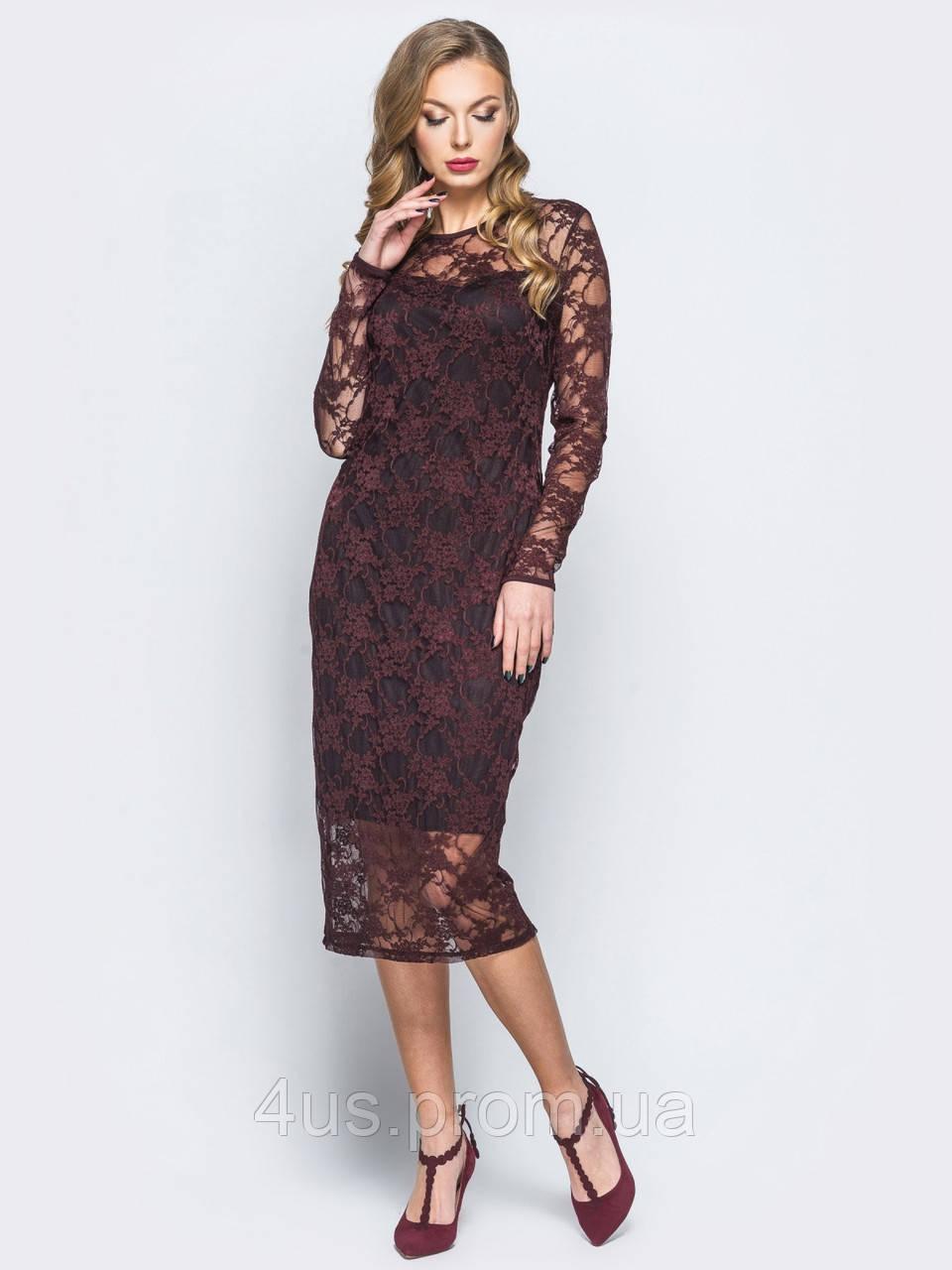 a7a1185eac7 ✉️Силуэтное платье-миди из мягкого гипюра (коричневое