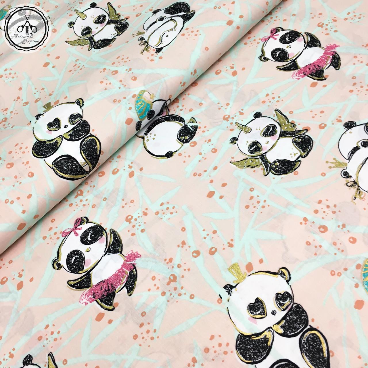 """Польская хлопковая ткань """"панды-ангелочки с золотом (глиттером) на розовом"""""""